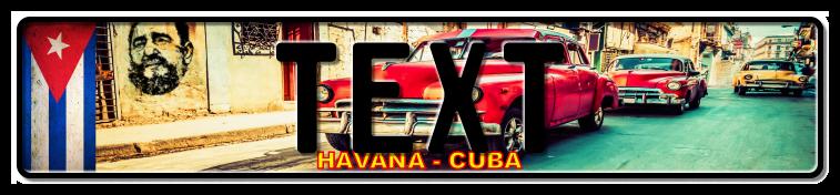 Funschild Cuba red car, 520x110 mm