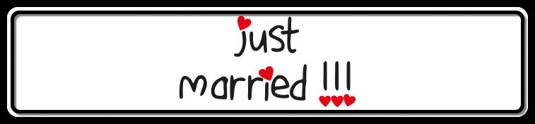 Fun-Schild Just married, 520x110 mm