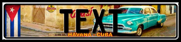 Funschild Cuba blue car, 520x110 mm