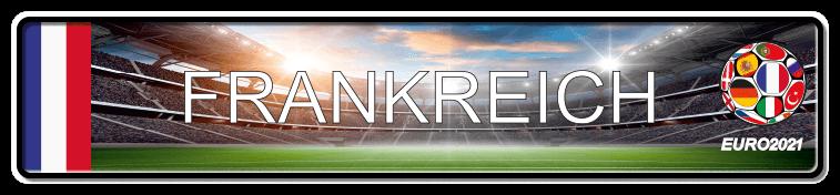 Funschild Fußball EURO EM 2021 Frankreich, bedruckt, 520x110 mm