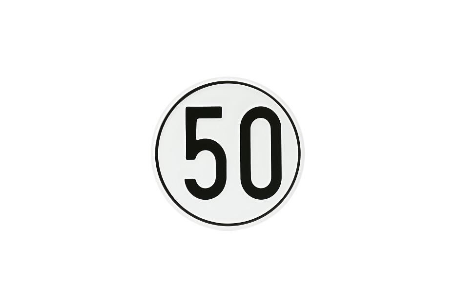 Geschwindigkeitsschild, 50 km/h, Aluminium, Ø 200 mm