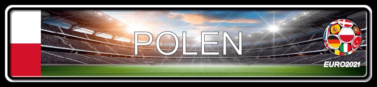 Funschild Fußball EURO EM 2021 Polen, bedruckt, 520x110 mm