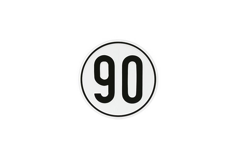 Geschwindigkeitsschild, 90 km/h, Aluminium, Ø 200 mm