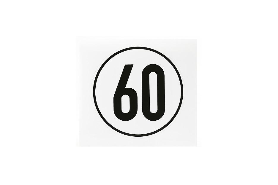 Geschwindigkeitsschild, 60 km/h, selbstklebende Folie, Ø 200 mm