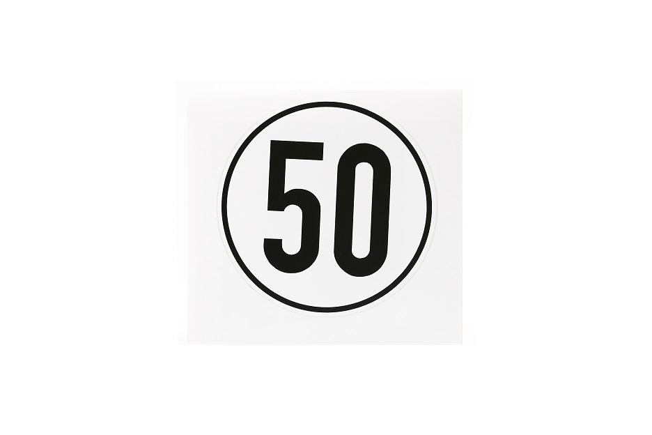 Geschwindigkeitsschild, 50 km/h, selbstklebende Folie, Ø 200 mm