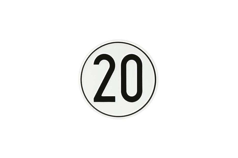 Geschwindigkeitsschild, 20 km/h, Aluminium, Ø 200 mm
