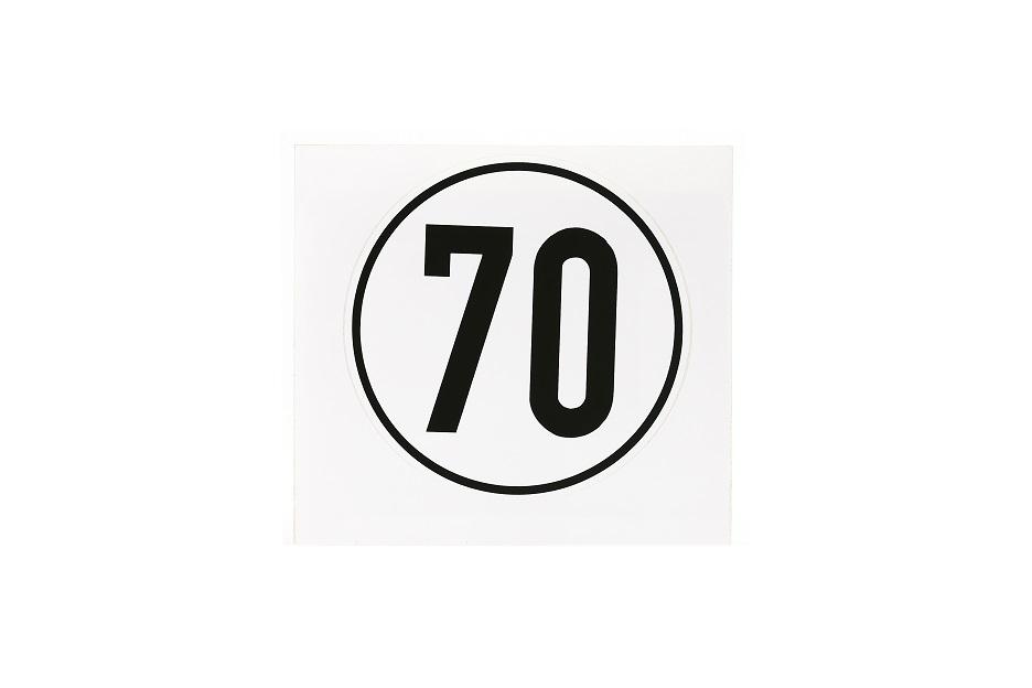 Geschwindigkeitsschild, 70 km/h, selbstklebende Folie, Ø 200 mm