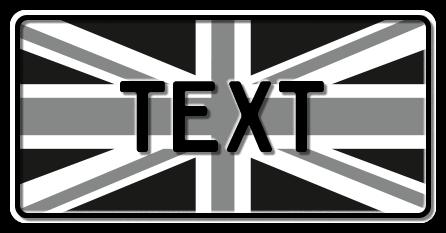 Funschild Großbritannien Nationalflagge (black & white), 300x150 mm