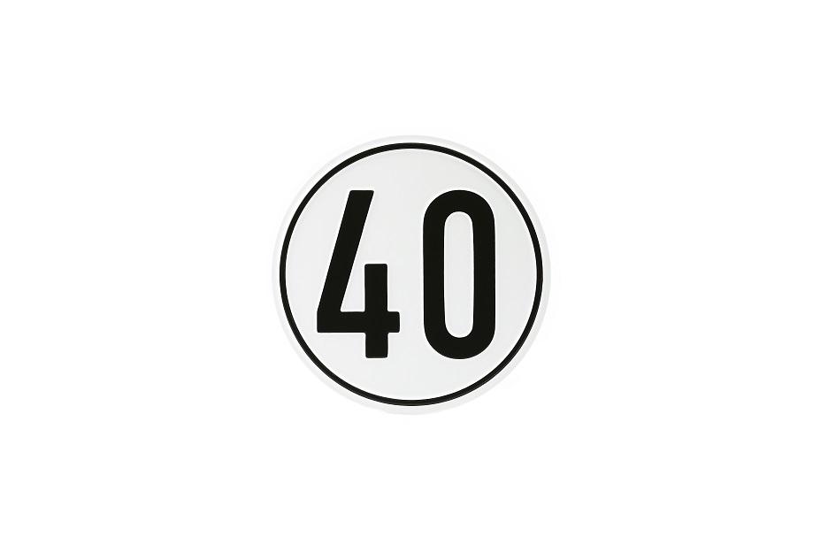 Geschwindigkeitsschild, 40 km/h, Aluminium, Ø 200 mm