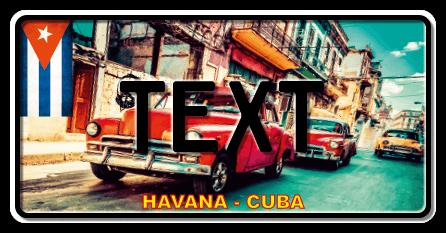 Funschild Cuba red car, 300x150 mm