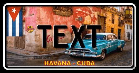 Funschild Cuba blue car, 300x150 mm