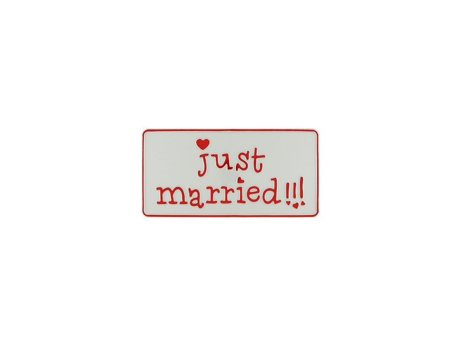 """Fun-Schild """"just married!!!"""", 300x150 mm"""